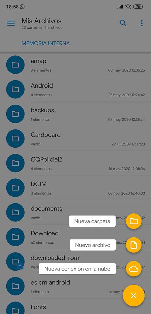Como crear carpetas en Android