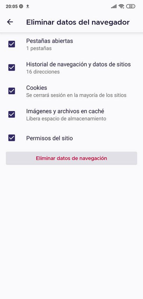Como eliminar cookies en Android firefox