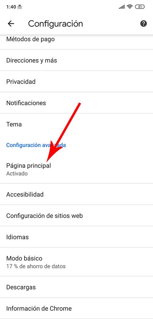 Como poner la casita de inicio en google chrome android