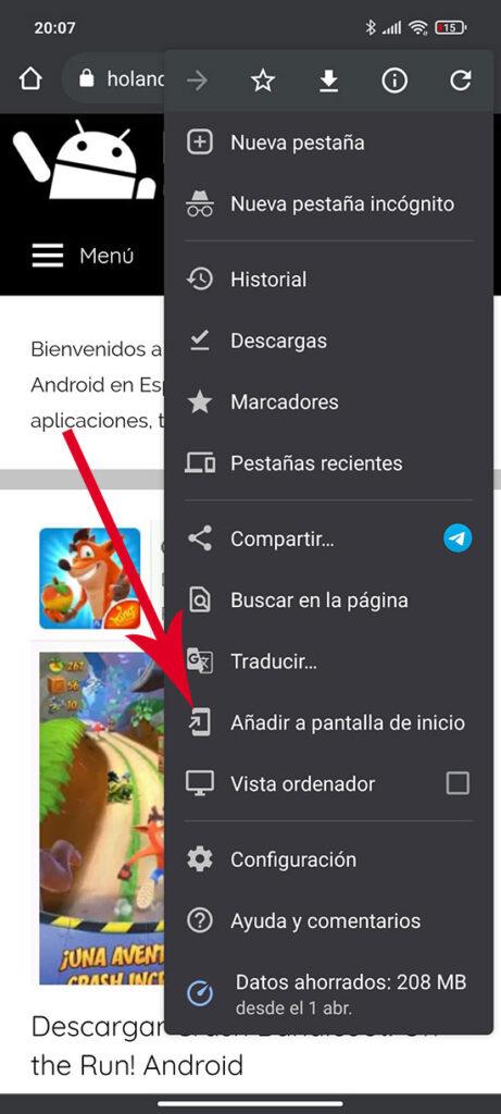 Crear acceso directo en Android pagina web
