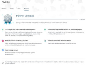 Que son los Play Points de Google Play Store ventajas nivel platino